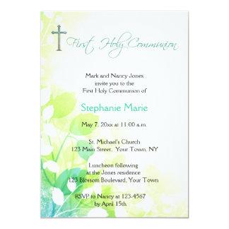 Floral convite azul e da hortelã, religioso verde