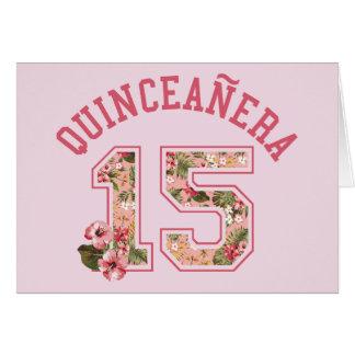 Floral cor-de-rosa atlético de Quinceanera 15 Cartão Comemorativo