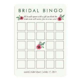 Floral cor-de-rosa do cartão de jogo | do Bingo do Convite 12.7 X 17.78cm