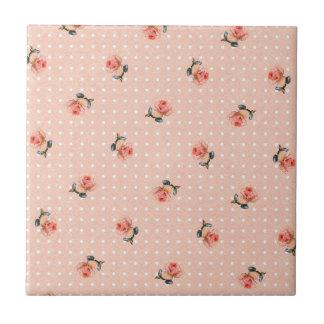 Floral cor-de-rosa e pontos do vintage
