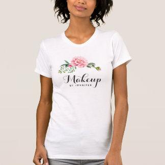 Floral cor-de-rosa feminino do salão de beleza da camisetas