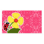 Floral cor-de-rosa; Joaninha Modelo De Cartões De Visita