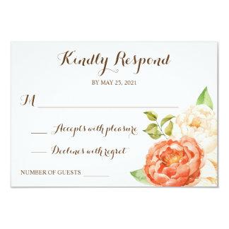 Floral de madeira rústico responde os cartões RSVP