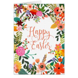 Floral do cartão de felz pascoa personalizado