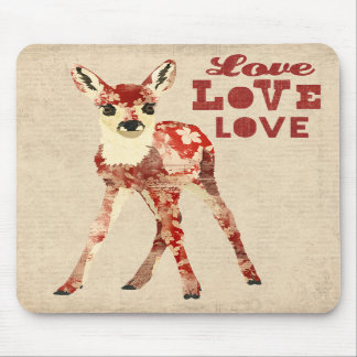 Floral Fawn Love  Mousepad
