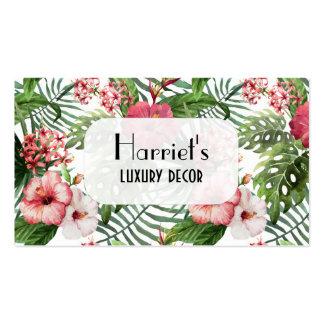 Floral fino moderno da aguarela tropical das cartão de visita