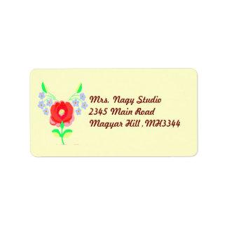 Floral húngaro etiqueta de endereço