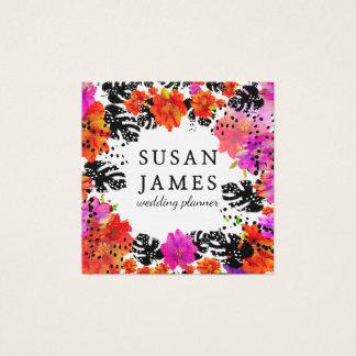 Floral moderno de florescência da aguarela cartão de visitas quadrado