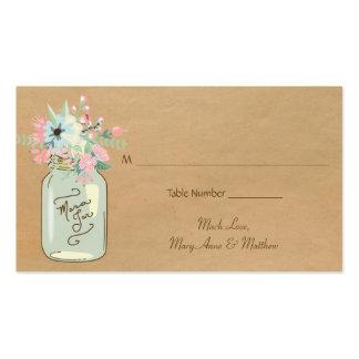Floral moderno rústico do frasco de pedreiro do cartão de visita