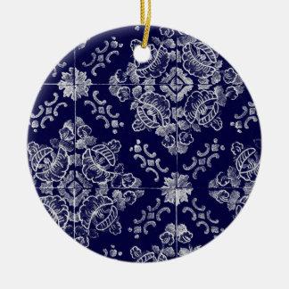 Floral português ornamento de cerâmica redondo