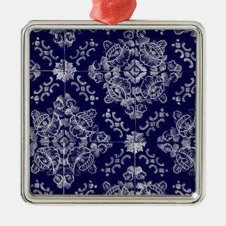 Floral português ornamento quadrado cor prata