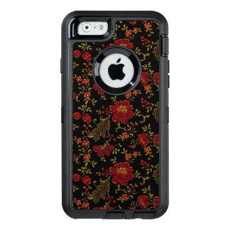Floral preto: Caso do iPhone 6/6s do defensor de