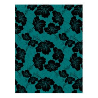 Floral preto elegante no fundo da cerceta cartoes postais