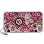Floral retro Funky cor-de-rosa & branco do auto-fa Caixinhas De Som Para Notebook