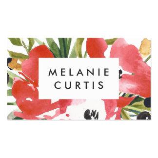 Floral romance vermelho cartão de visita