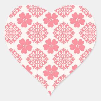 Floral rosa pálido e de creme adesivo de coração