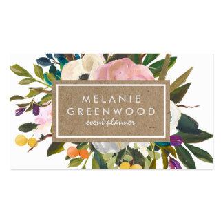 Floral rústico do vintage cartão de visita