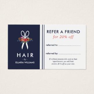 Floral Scissor o cartão azul da referência do