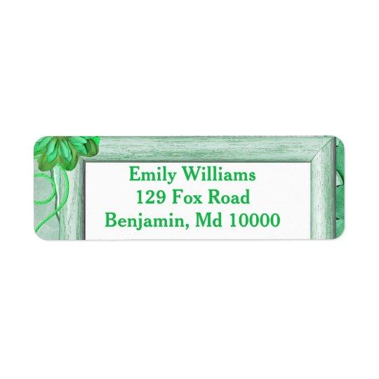 Floral verde excelente etiqueta endereço de retorno