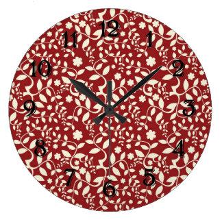 Floral vermelho e de creme relógios para paredes