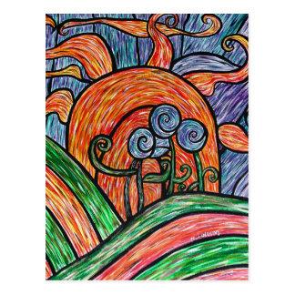 Flores abstratas no cartão colorido da arte do por
