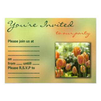 Flores alaranjadas da tulipa convite 12.7 x 17.78cm