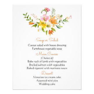 Flores alaranjadas florais do lírio do menu -