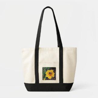 Flores amarelas com abelha bolsa para compras