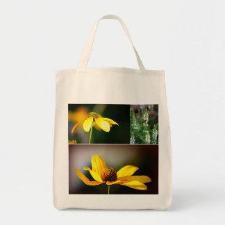 Flores amarelas sacola tote de mercado