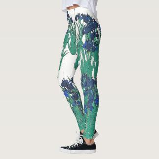 Flores asiáticas da íris da tela por todo o lado legging
