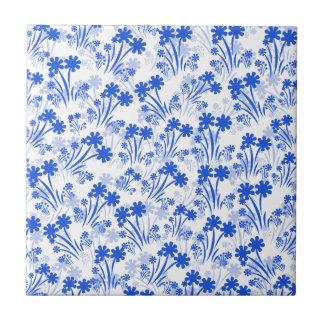 Flores azuis azulejo quadrado pequeno