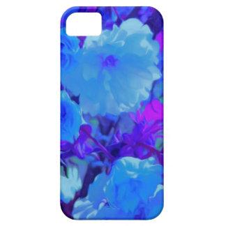 Flores azuis brilhantes brilhantes com Fushia Capa Barely There Para iPhone 5