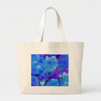 Flores azuis brilhantes brilhantes com Fushia Sacola Tote Jumbo