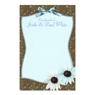 Flores azuis - da mesa de. Wedding Thankyou Papel Personalizado