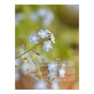Flores azuis doces Calendário 2013 Fotografia