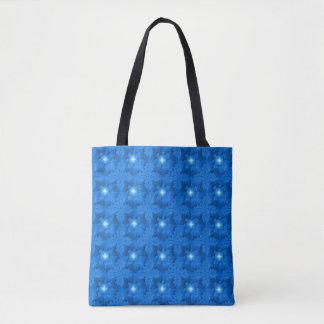 Flores azuis em 3D com estrelas, Artdeco Bolsa Tote