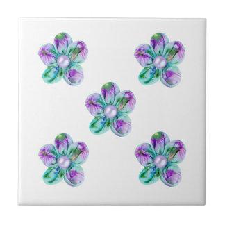 Flores azuis, roxas, verdes para a cozinha azulejo quadrado pequeno
