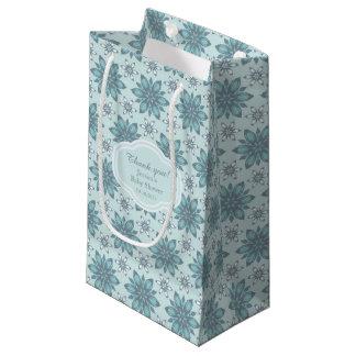 Flores azuis - saco do presente sacola para presentes pequena