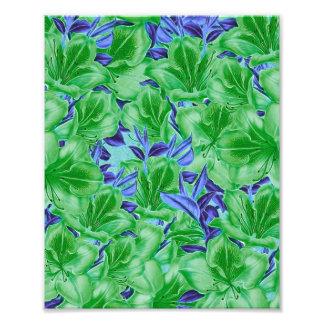 Flores azuis verdes vibrantes do vintage impressão de foto