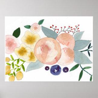 Flores, bagas, e poster da aguarela das folhas pôster