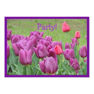 Flores bonitas das flores roxas das tulipas convite 12.7 x 17.78cm
