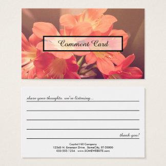 flores bonitas do cartão do comentário