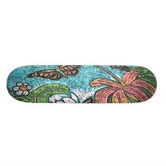 Flores bonitas dos desenhos animados shape de skate 18,4cm