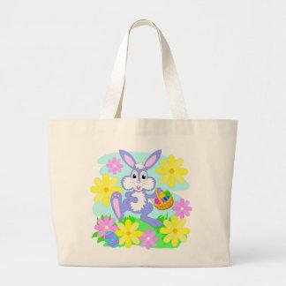 Flores bonitos do coelho dos desenhos animados do sacola tote jumbo
