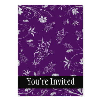 Flores & borboletas Sparkling do diamante na Convite 12.7 X 17.78cm