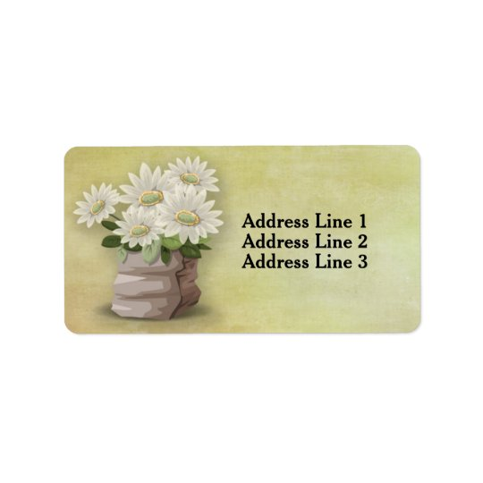 Flores brancas bonitas do vintage na etiqueta etiqueta de endereço