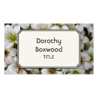 Flores brancas botânicas personalizadas cartão de visita