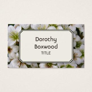 Flores brancas botânicas personalizadas cartão de visitas