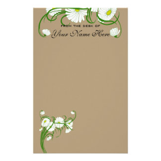 Flores brancas da margarida de Gerber do vintage Papéis Personalizados