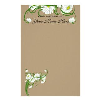Flores brancas da margarida de Gerber do vintage q Papéis Personalizados